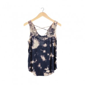 Blue Tie-Dye Studded Sleeveless Top