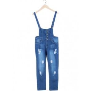 Blue Denim Ripped Jumpsuit