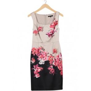 Cream Floral Midi Dress