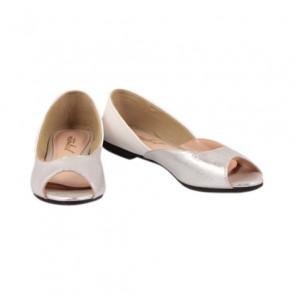 Ittaherl Silver Peep Toe Flats