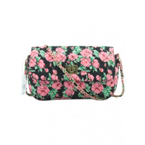 Primark Black Floral Sling Clutch Bag