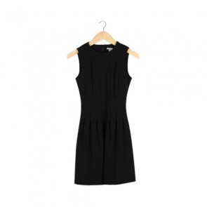 Black Sleeveless Pleated Mini Dress