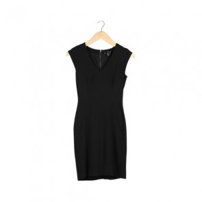 Black V-Neckline Fitted Mini Dress