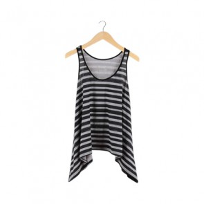 Grey and Black Striped Sleeveless Top