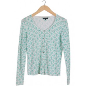 Green and White Cardigan