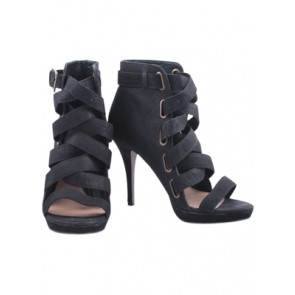 Zara Black Ankle Strappy Heels