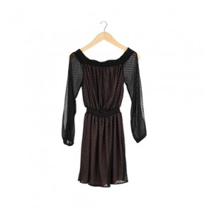 Black Polkadot Sheer Off-The-Shoulder Midi Dress