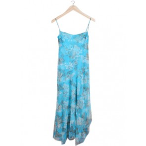 Blue Floral Tulle Midi Dress