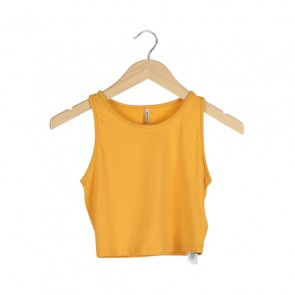 Yellow Cropped Sleeveless Top
