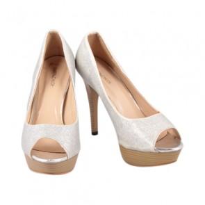 Karen & Chloe Silver Peep Toe Heels