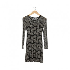 Black and White Lace Midi Dress