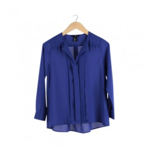 Blue Barrel Sleeve Blouse