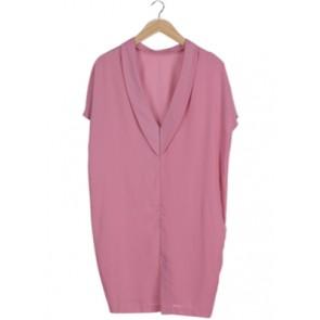 Pink V-Neck Midi Dress