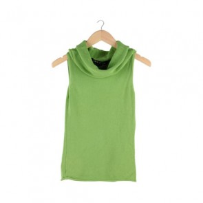 Green Turtle Neck Sleeveless Blouse