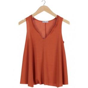 Orange V-Neck Sleeveless Blouse