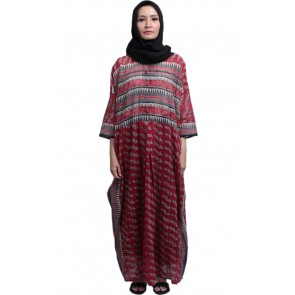 Red Batik Two Piece Caftan