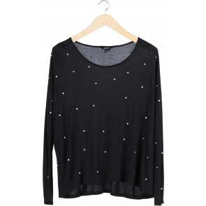 Black Embellished T-Sirt Long Sleeve