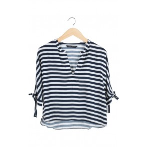 White and Blue Striped Blouse