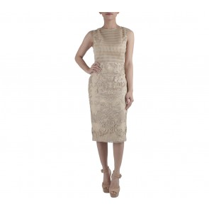 Ernesto Abram Gold Sleeveless Midi Dress