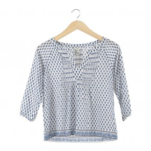 Forever 21 White And Blue Blouse
