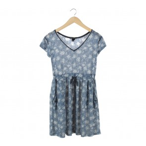 Mango Blue Floral Mini Dress
