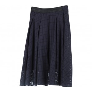 Zara Dark Blue And Black Plaid Skirt