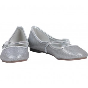 Karen  & Chloe Silver Glittery Flats