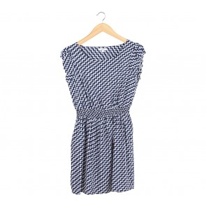New Look Dark Blue And White Zig-Zag Mini Dress
