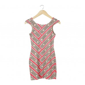Mink Pink Cream And Pink Patterned Mini Dress