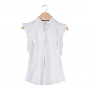 Zara White Pleats Shirt