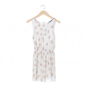 Zara White V-Neck Cat Mini Dress