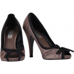 Zara Grey Peep Toe Bowed Heels