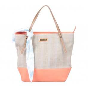 Charles and Keith Orange And Cream Tote Bag