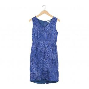 Banana Republic Blue Abstract Sleeveless Midi Dress