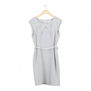 Calvin Klein White And Black Striped Midi Dress