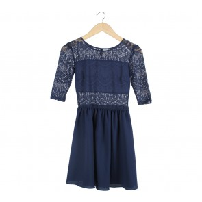 Divided Dark Blue Lace Insert Mini Dress