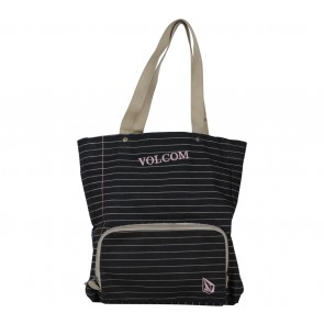 Volcom Black Striped Tote Bag