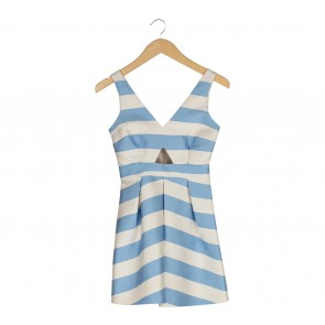 Topshop Blue And Off White Striped Cut Out Mini Dress