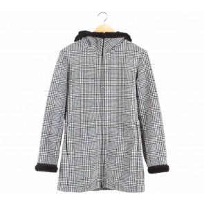 UNIQLO Black And White Houndstooth Coat
