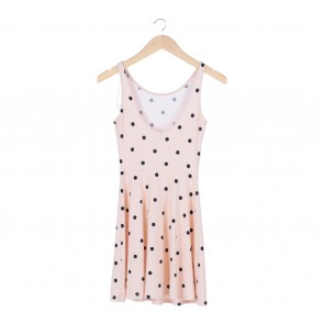 Divided   Cream Dotted Low Back Sleeveless Mini Dress