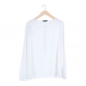 White Barrel Sleeves Blouse