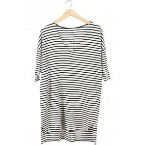 Zara Black And Off White Striped Blouse