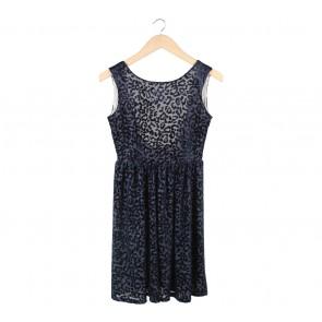Zara Dark Blue Leopard Low Back Mini Dress