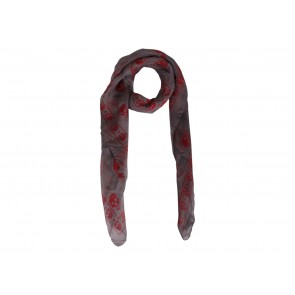 Alexander McQueen Grey And Red Skull Scarf