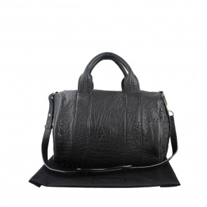 Alexander Wang Black Rocco Textured Leather Tote Bag