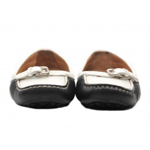Car Shoe Black And White Drivers Flats