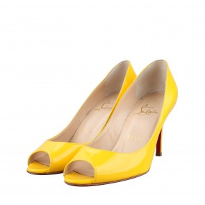 Cristian Louboutin Filo Yellow Patent Leather Heels