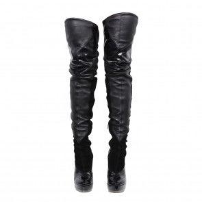 Gucci Black Stretch Leather Thigh-high Boots