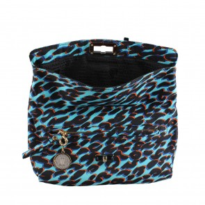 Lanvin Blue And Black Leopard Printed Clutch
