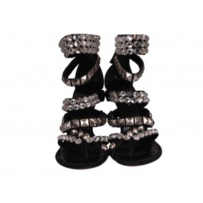 Balmain x Giuseppe Zanotti Black Limited Edition Suede Crystal Heels